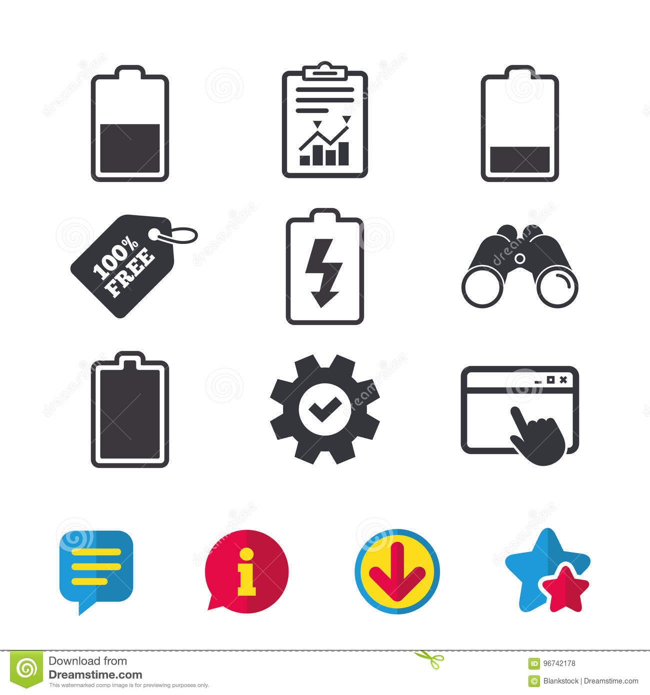Battery Charging Icons  Electricity Symbol  Stock Vector