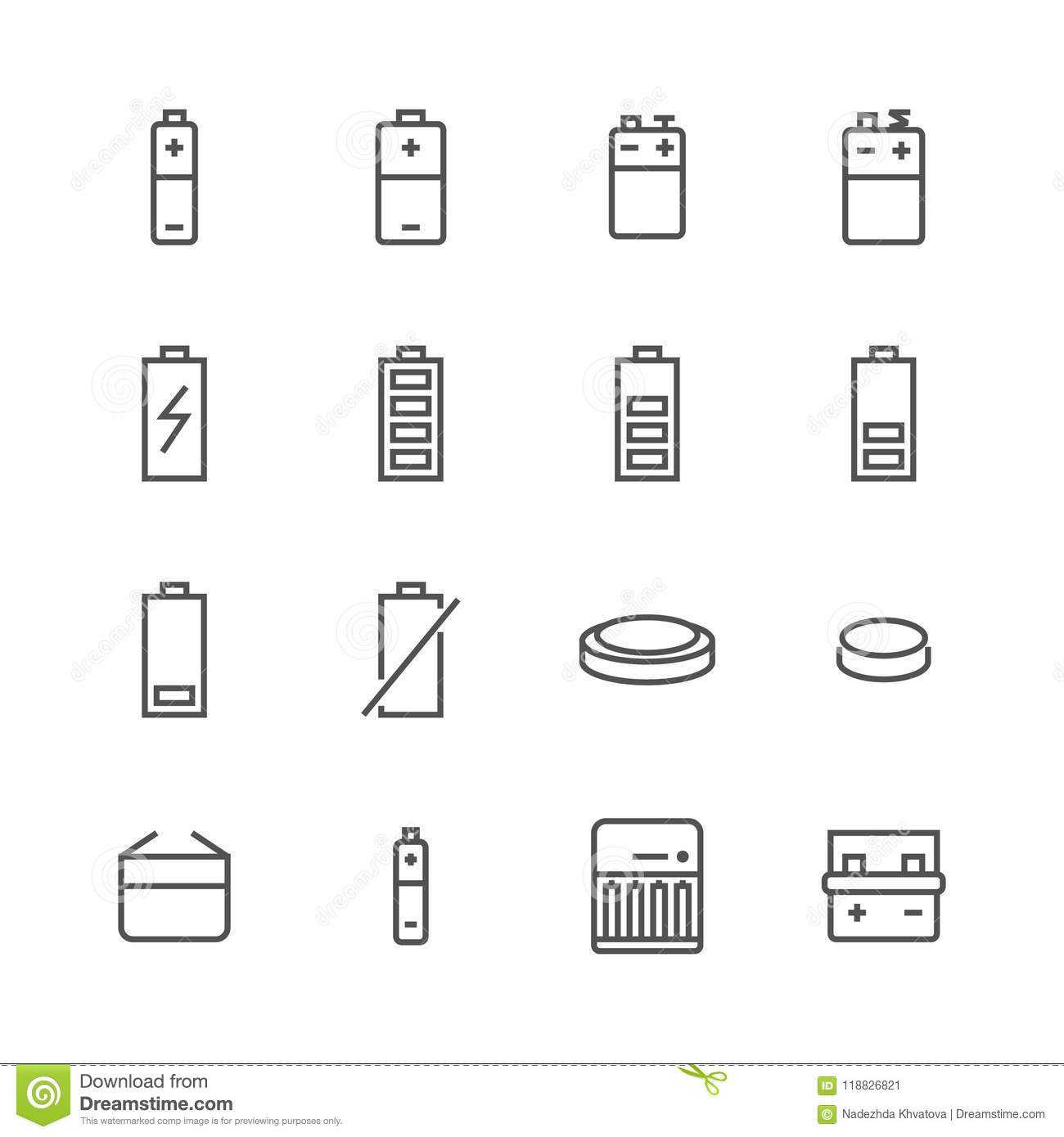 Battery flat line icons. Batteries varieties illustrations - aa, alkaline, lithium, car accumulator, charger, full