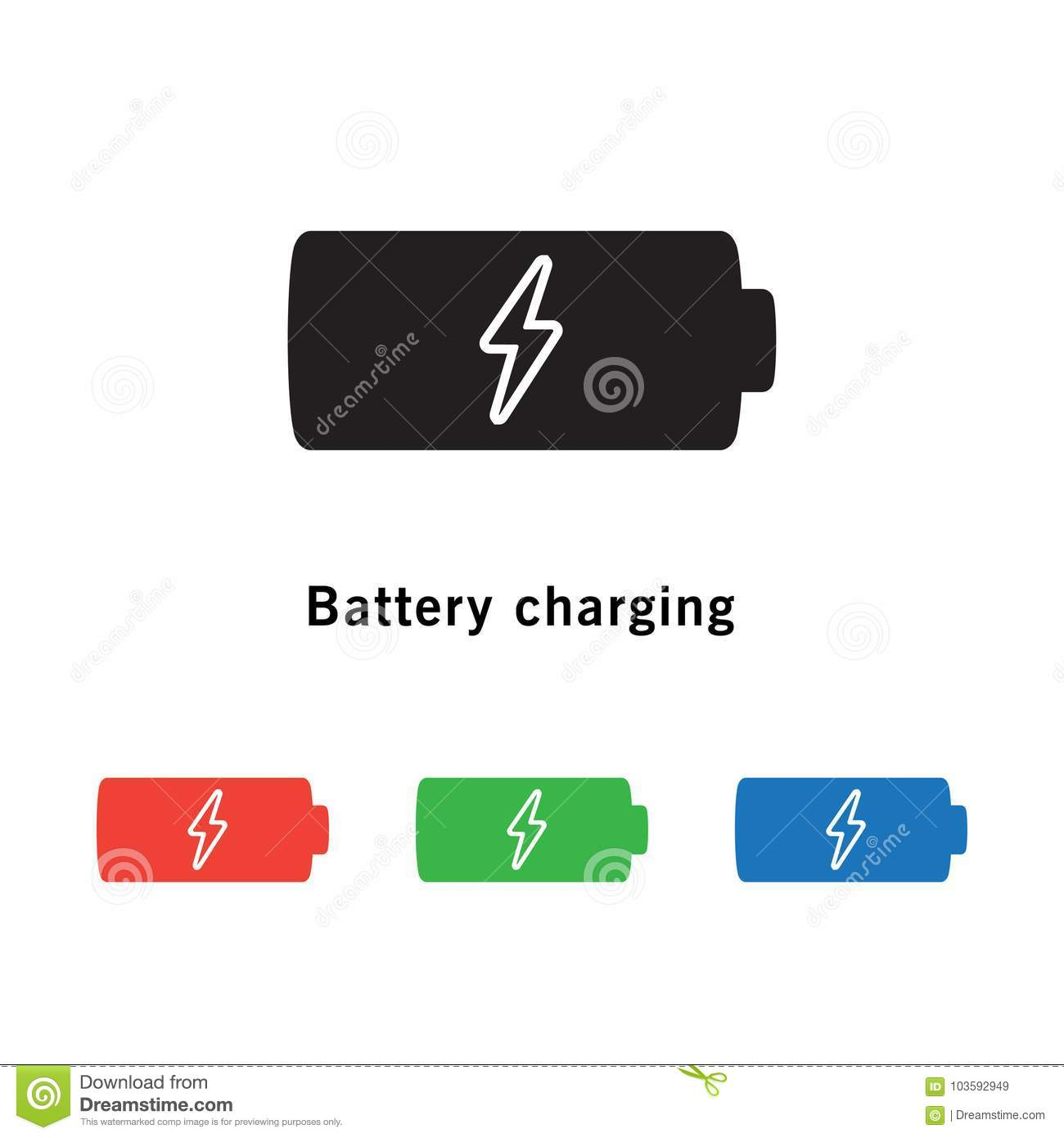 Battery Icon With Power Charging Symbol On White Background. Stock ...