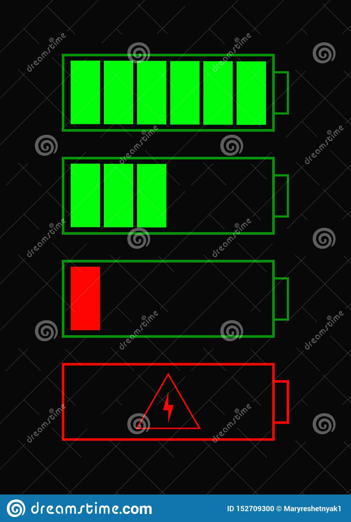 Battery indicator items. battery icons set for website. Battery charge status with low and high energy levels.Accumulator icon