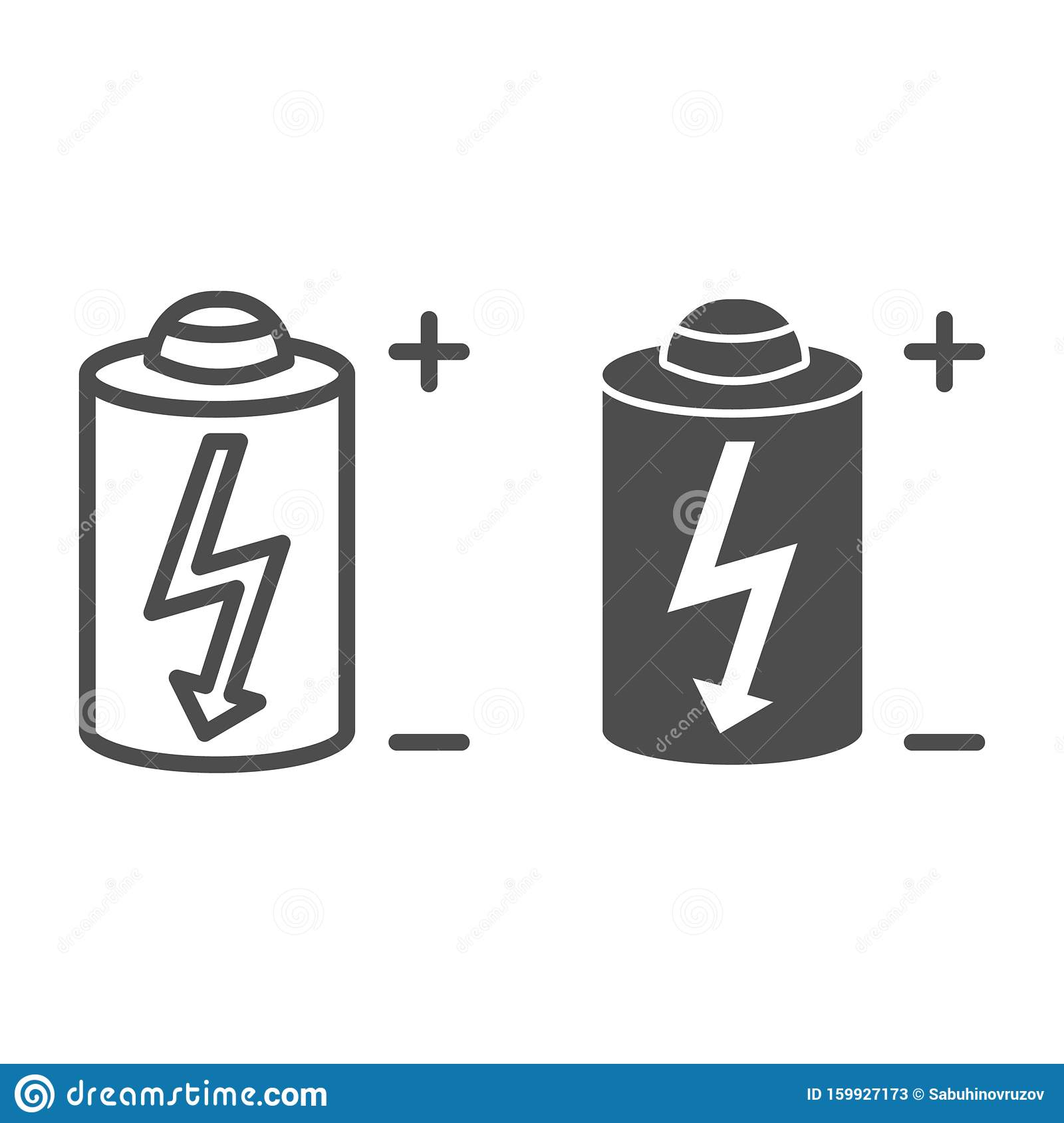 Battery Line And Glyph Icon Power Battery Vector Illustration Isolated On White Alkaline With Bolt Outline Style Stock Vector Illustration Of Lightning Cylinder 159927173