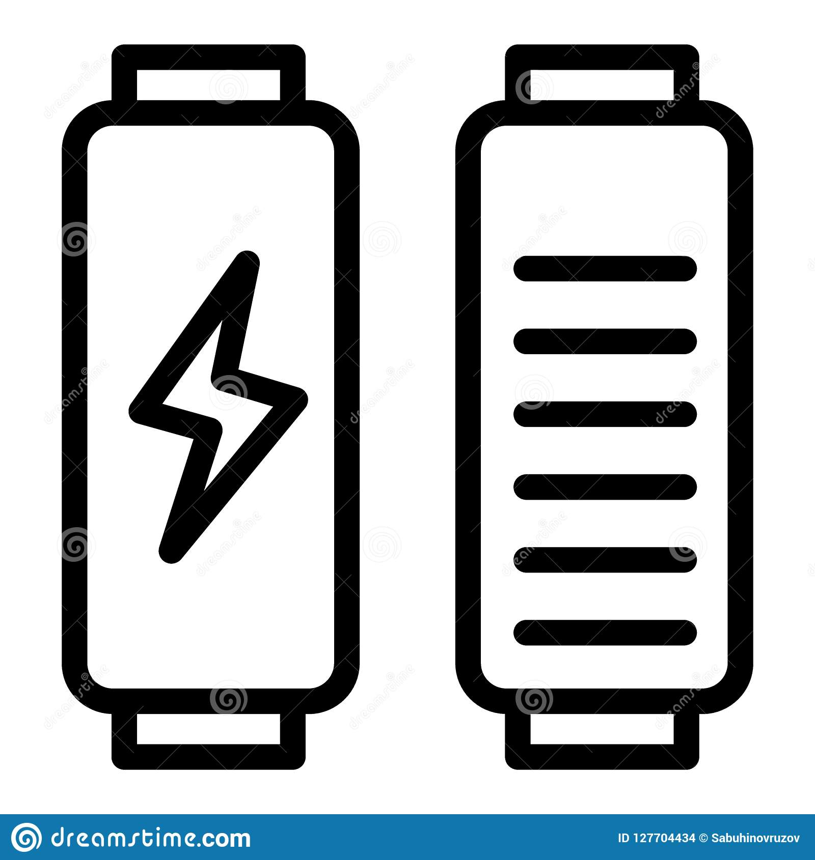 Battery load line icon. Full charge vector illustration isolated on white. Energy outline style design, designed for web