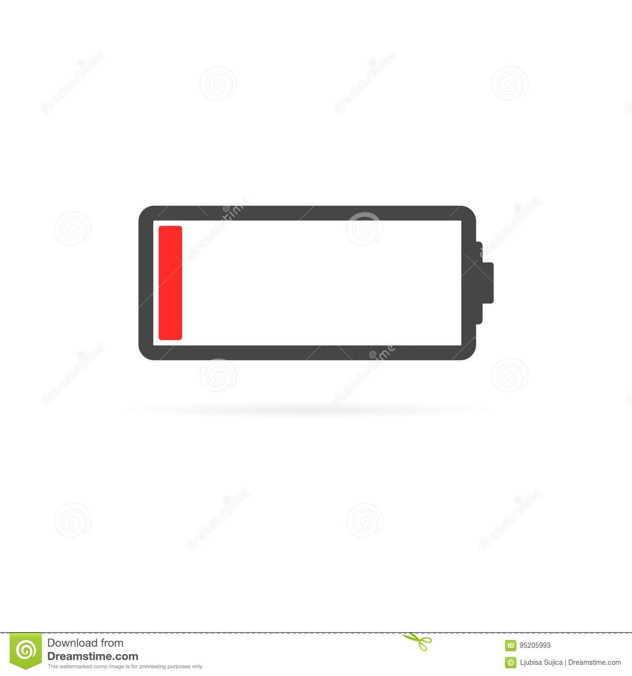 Battery low icon stock vector. Illustration of dimensional ...