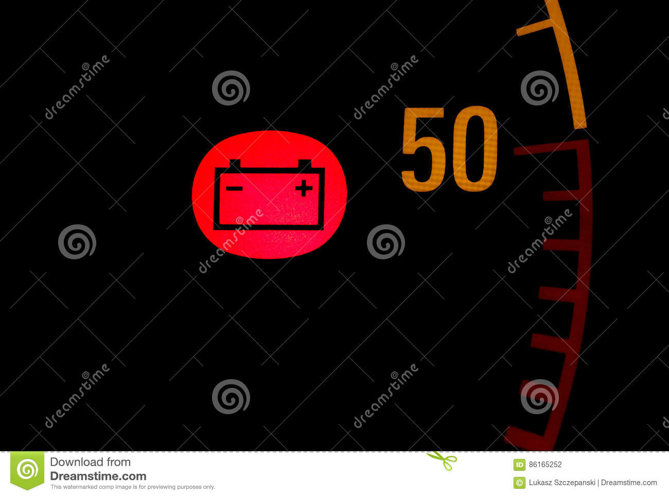 Battery Low Red Light Icon On Car Dashboard Stock Photo Image Of