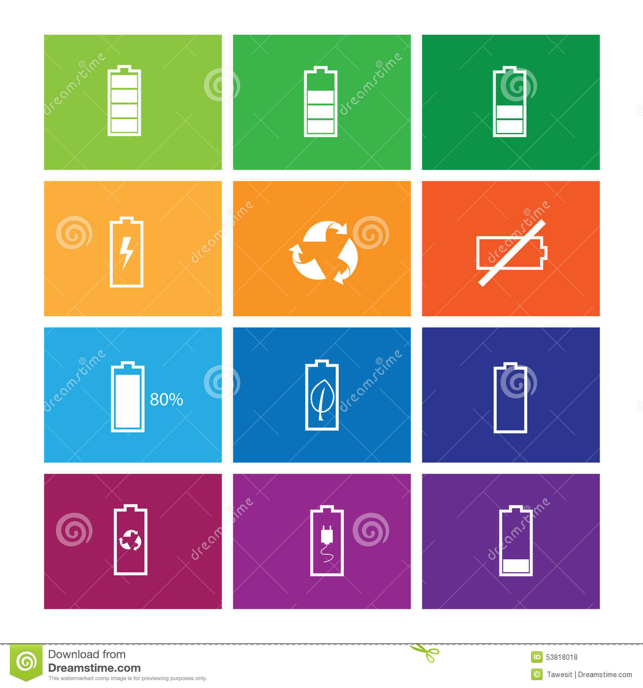 Battery status icons set stock vector  Illustration of empty
