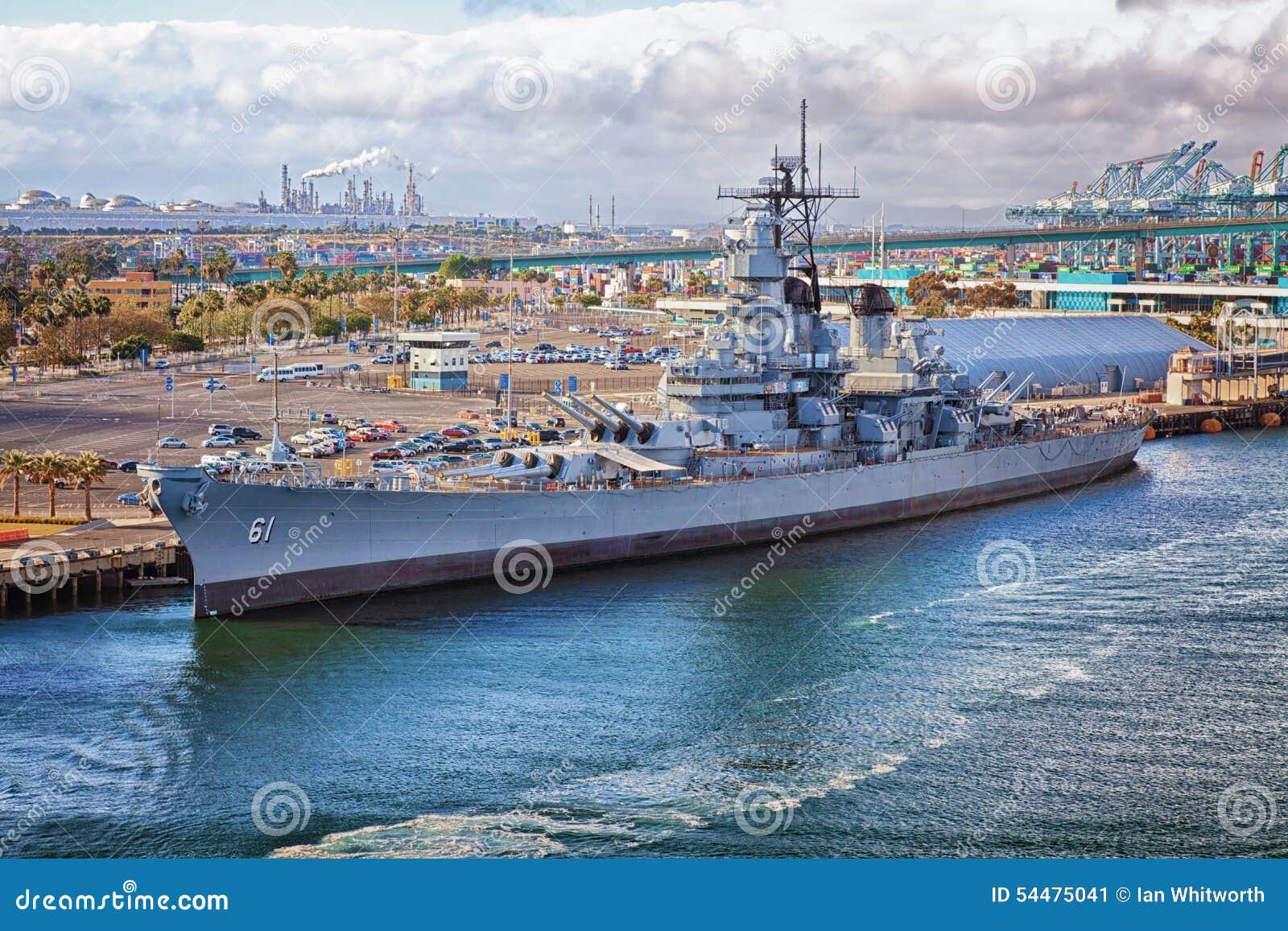Battleship USS Iowa Port Of Los Angeles Editorial Photo