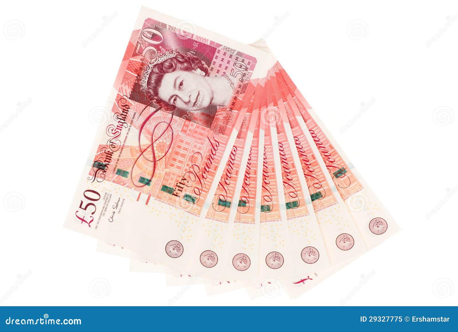 Batuffolo del Regno Unito cinquanta note della libbra