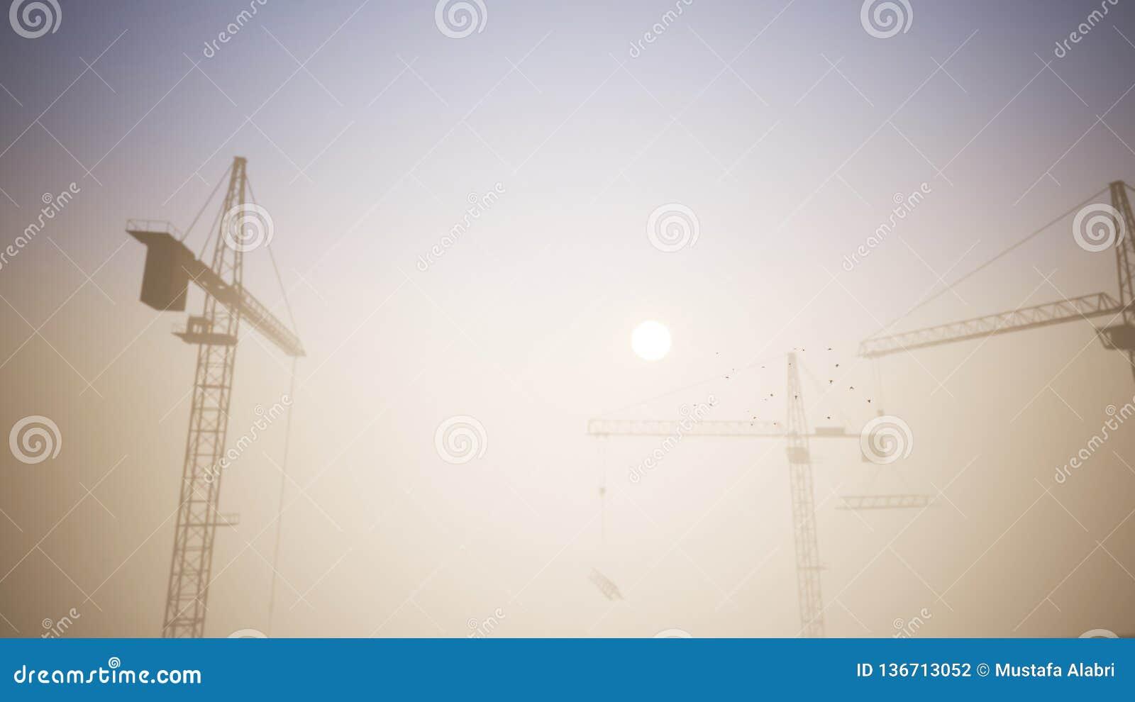 Bau-Kräne in der Sonnenuntergang-Szene mit dem Überschreiten von flachen 1