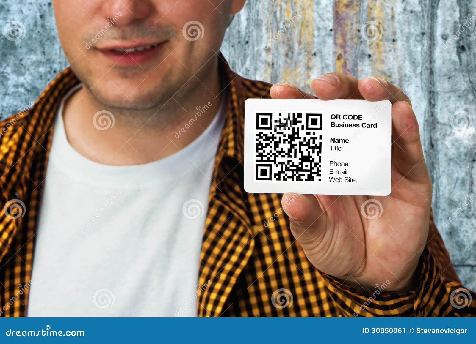 Bauarbeiter Mit Qr Code Visitenkarte Stockbild Bild Von