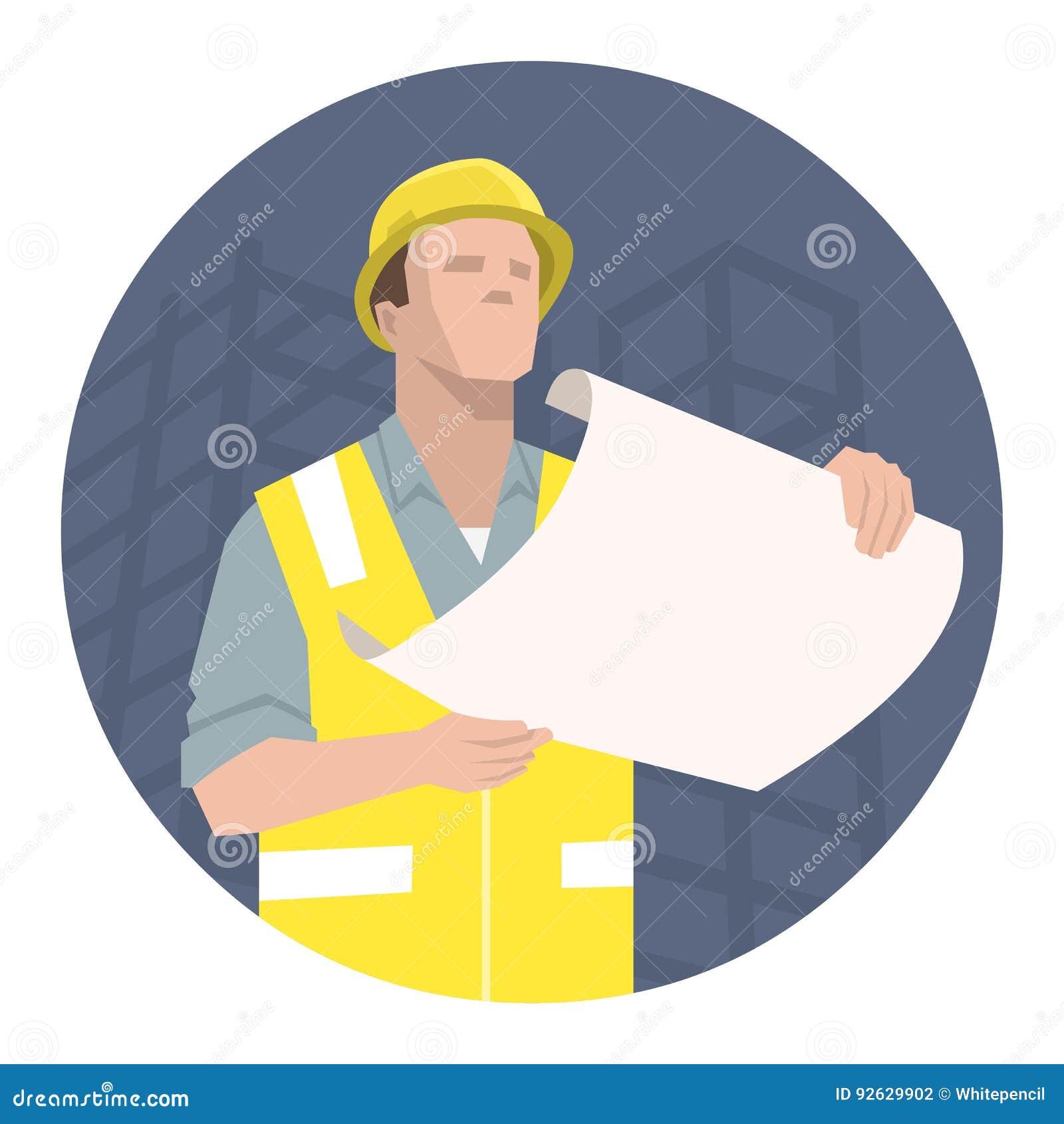Bauarbeiter, Ingenieur oder Architekt, die den Projektplan betrachten