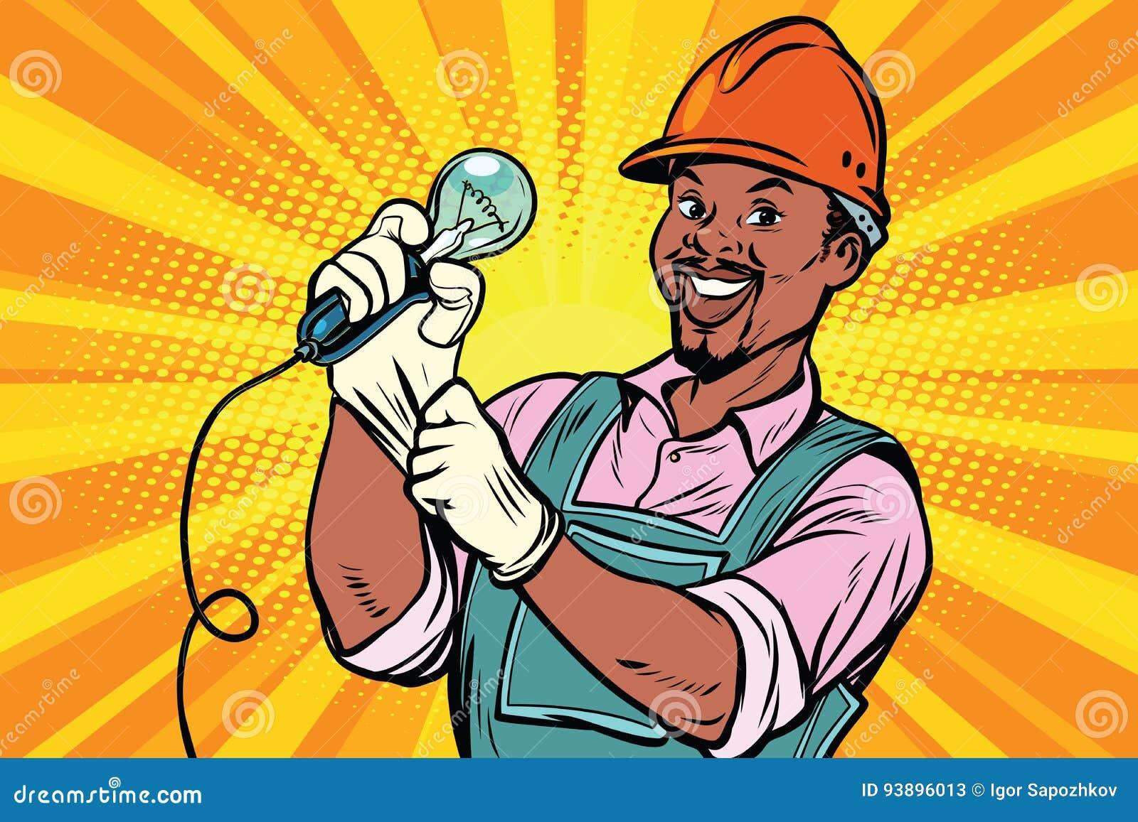 Bauarbeiter Mit Gluhlampe Vektor Abbildung Illustration Von