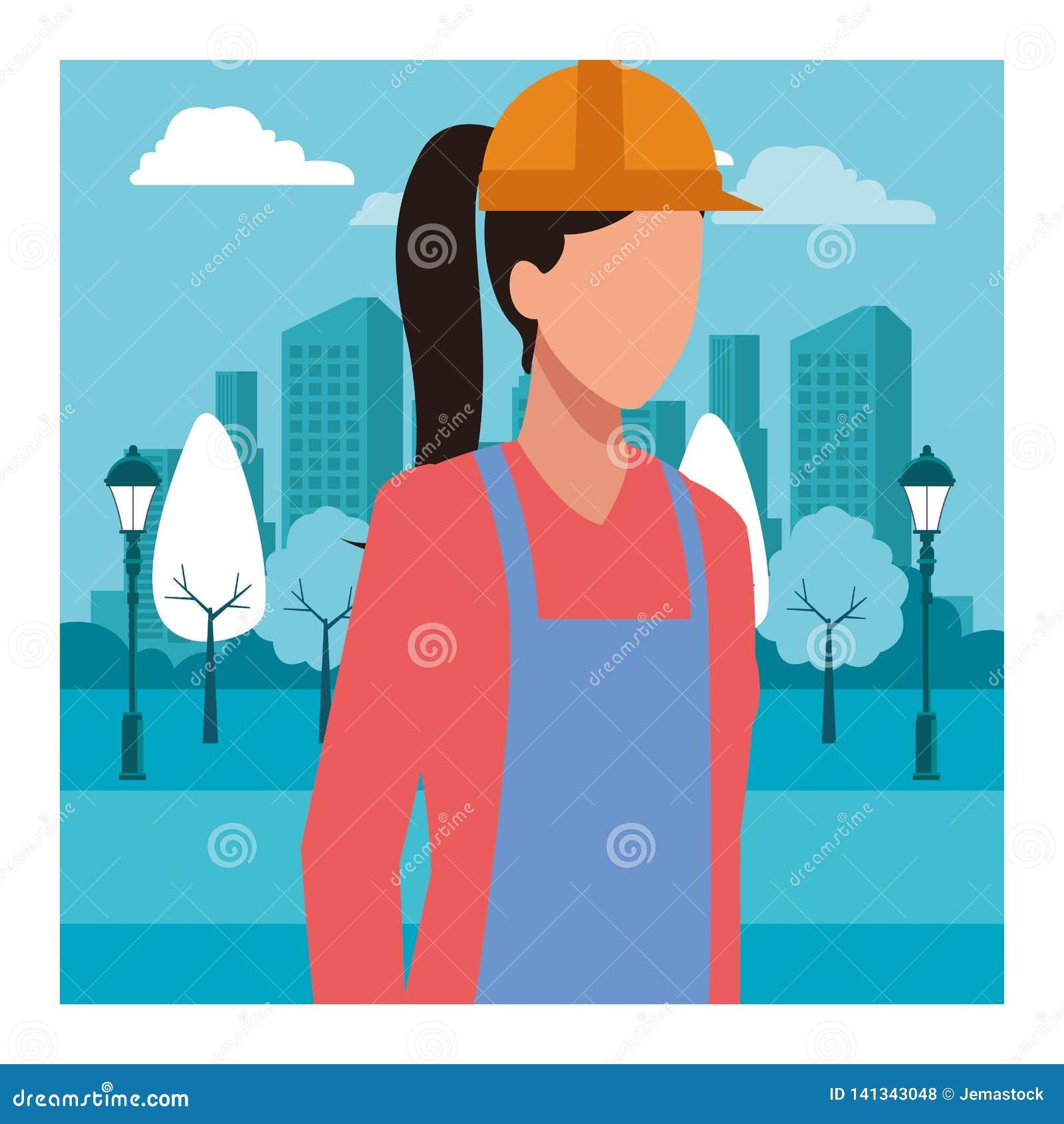 BauArbeitnehmerin-Arbeitskraftavatara