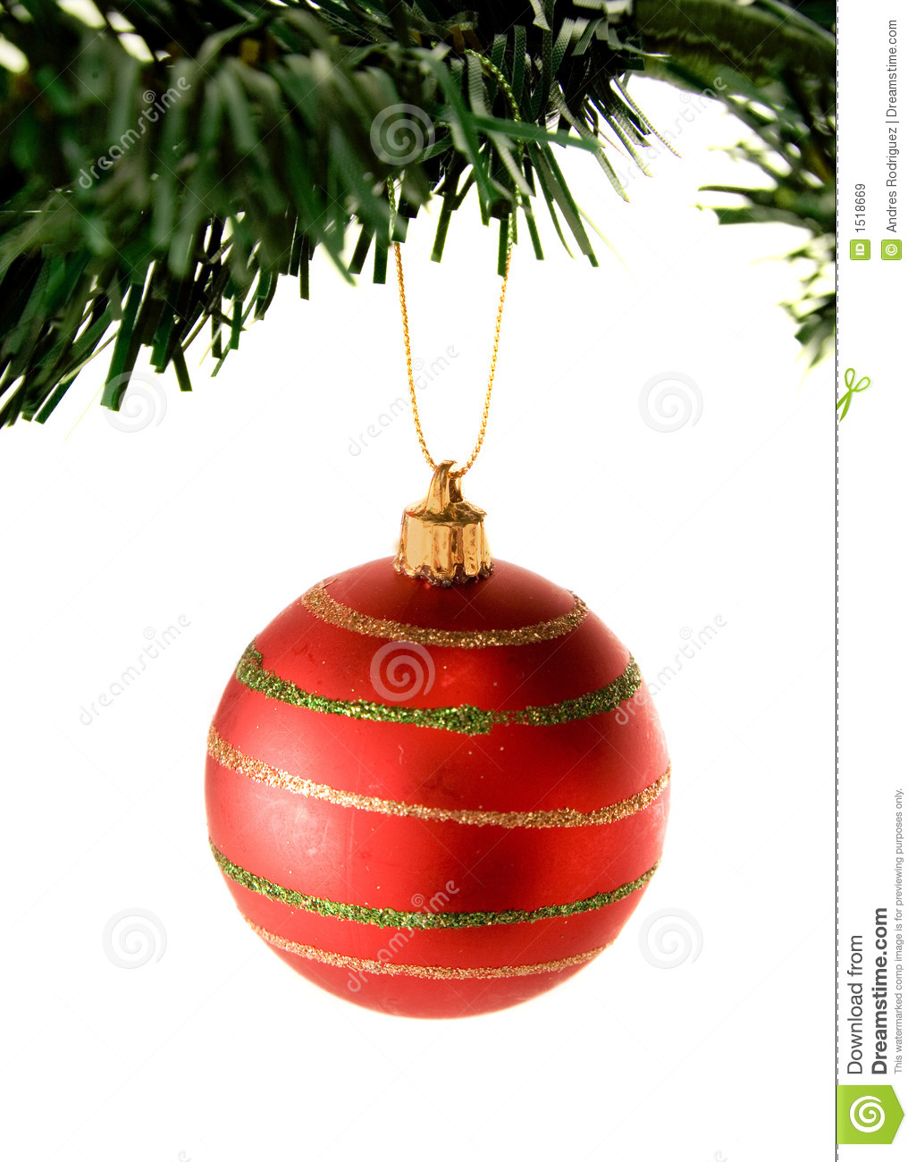 bauble in red hanging from christmas tree stock image. Black Bedroom Furniture Sets. Home Design Ideas