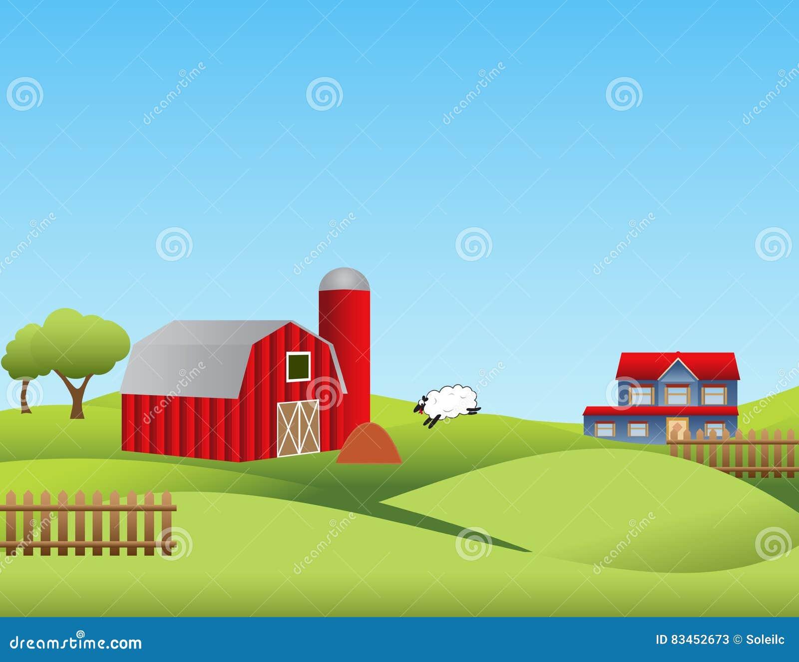 Bauernhof mit Rolling Hills