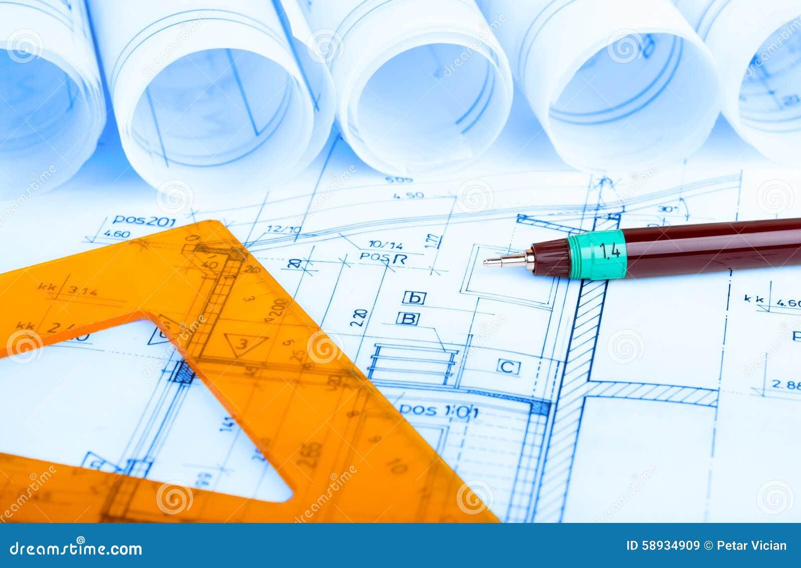Baugewerbe-Architektur rollt Immobilien der Architekturplan-Projektarchitektenpläne