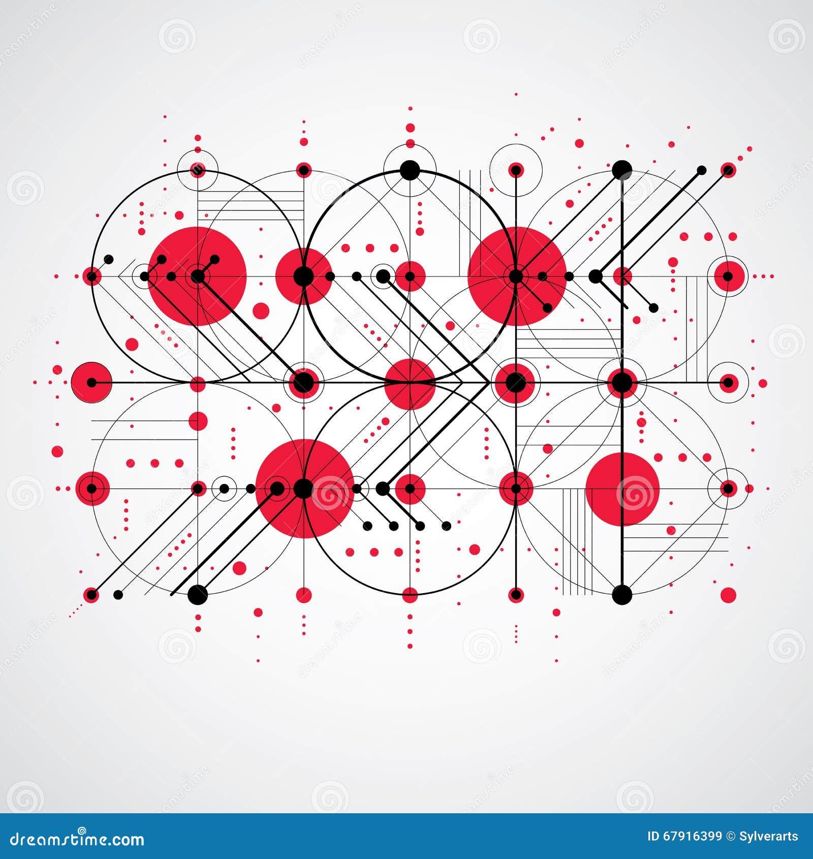 bauhaus art composition decorative modular red vector wallpaper