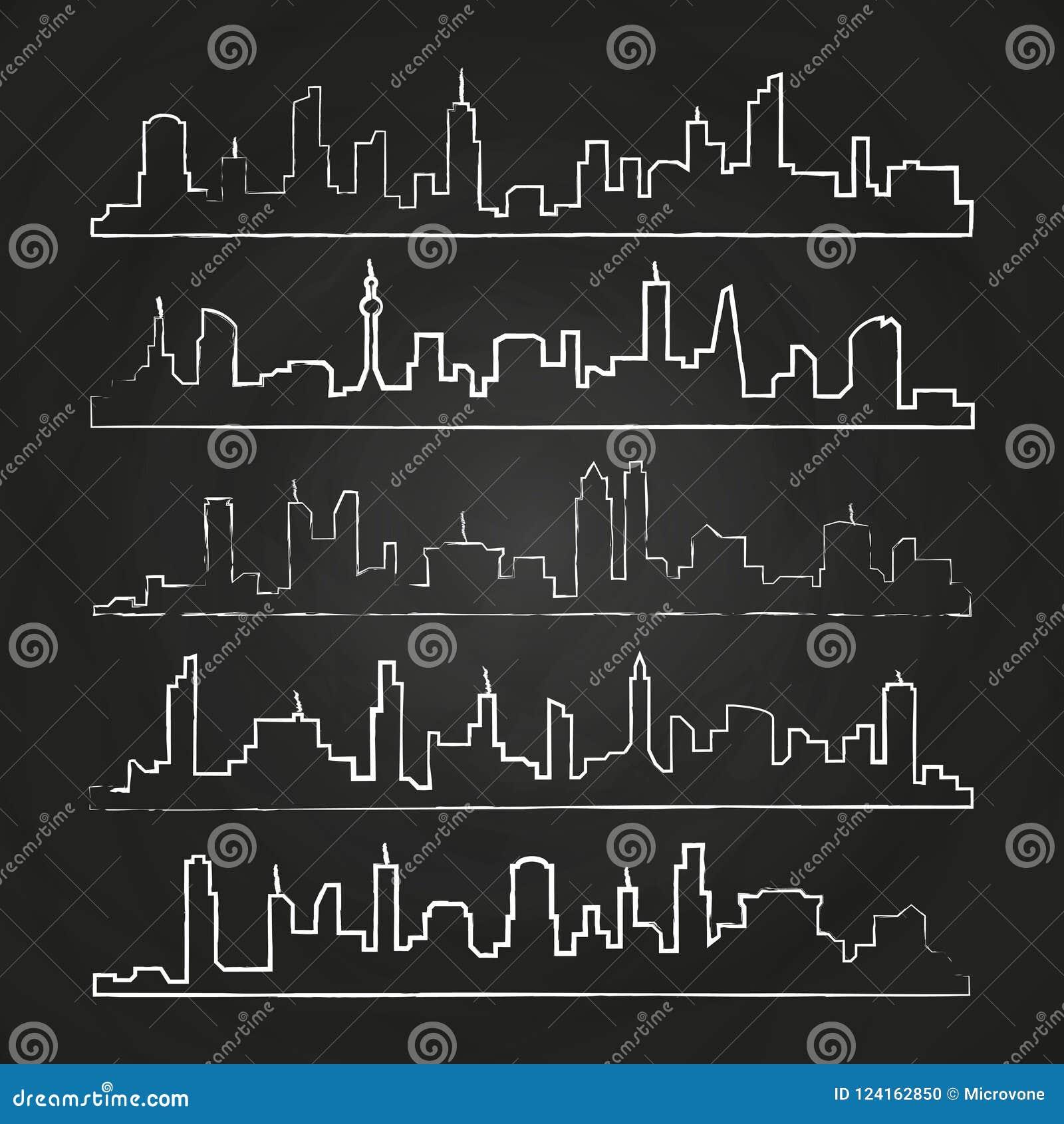 Baulinie der Stadt Hand gezeichneter städtischer Vektorstadtbildsatz
