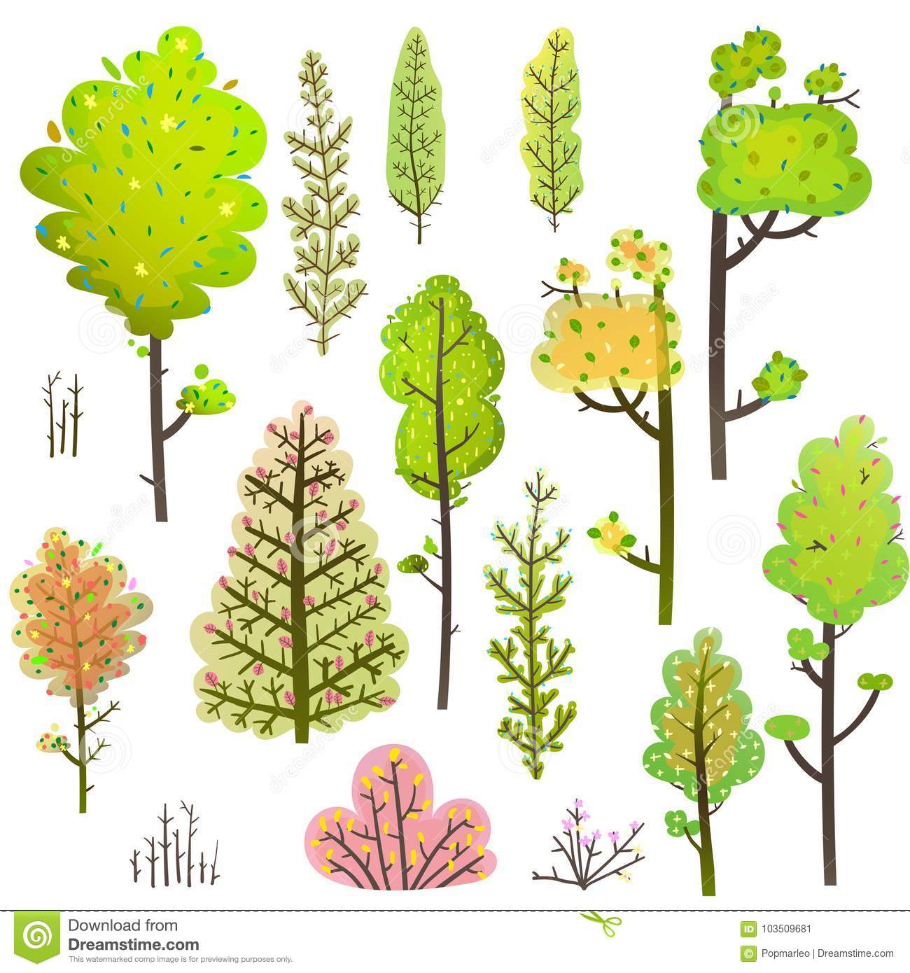 Baum Bush Grun Forest Clipart Collection Vektor Abbildung