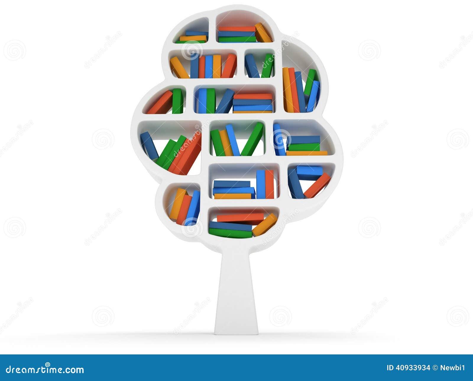 Baum 3d des Wissens Bücherregal auf Weiß ~ Bücherregal Baum