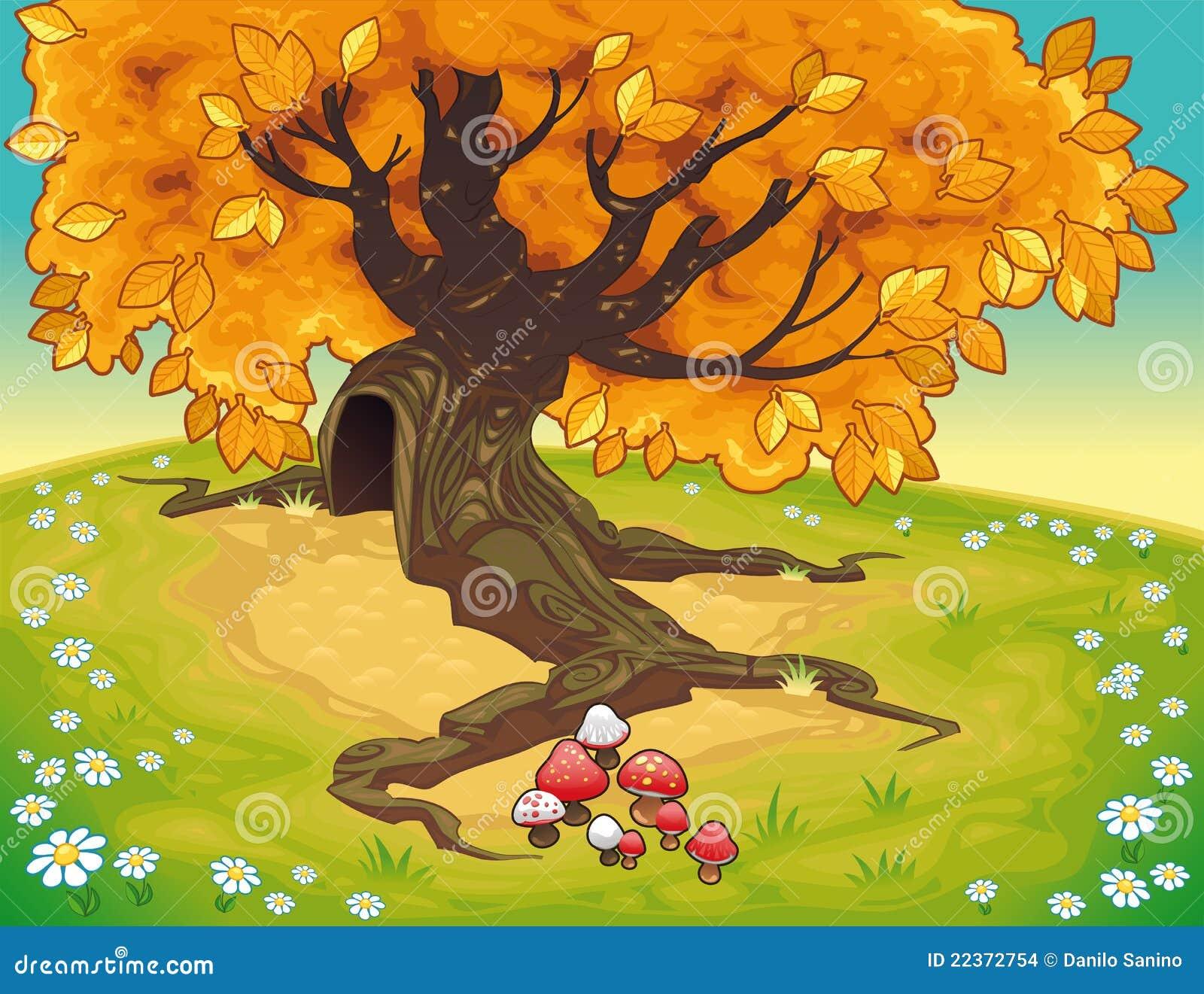 Baum in der herbstlichen Landschaft.