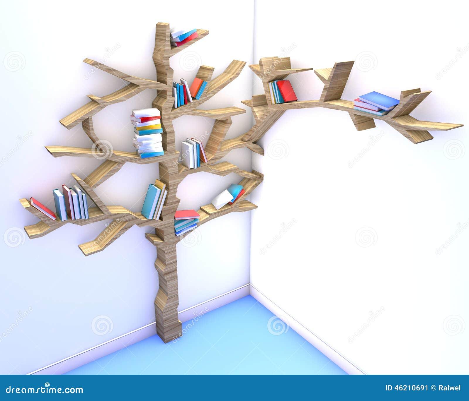 baum des wissens bücherregal stock abbildung - illustration von