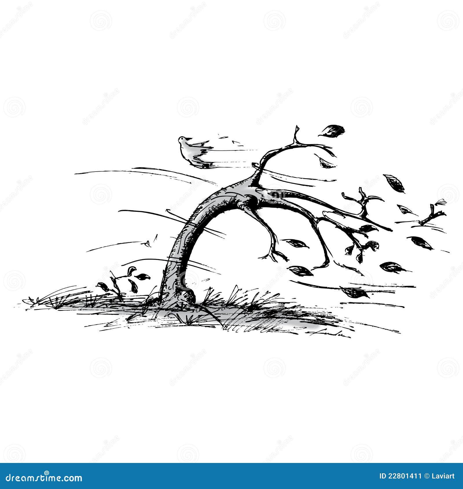 Baum im Wind stock abbildung. Illustration von braun ...