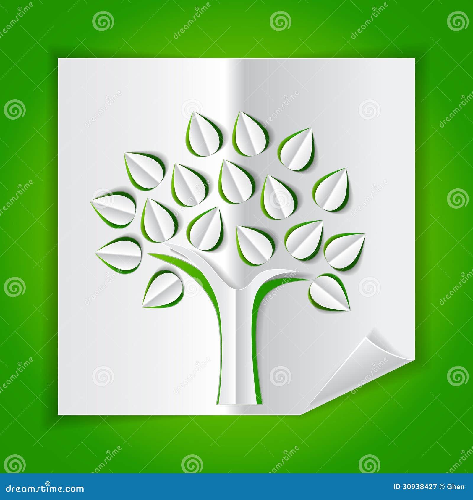 Baum papier gemacht herauszuschneiden vektor abbildung for Bastelanleitung baum aus papier