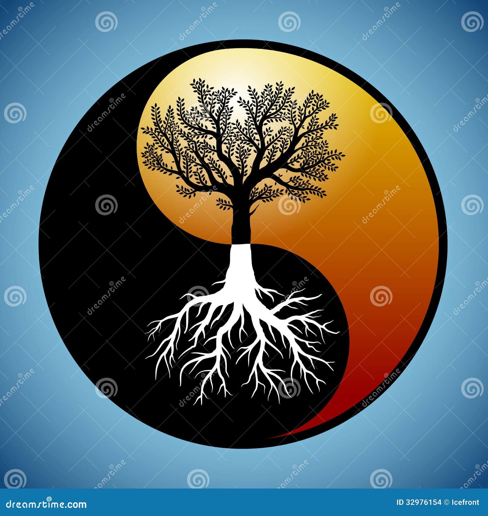 baum und seine wurzeln in yin yang symbol vektor abbildung. Black Bedroom Furniture Sets. Home Design Ideas