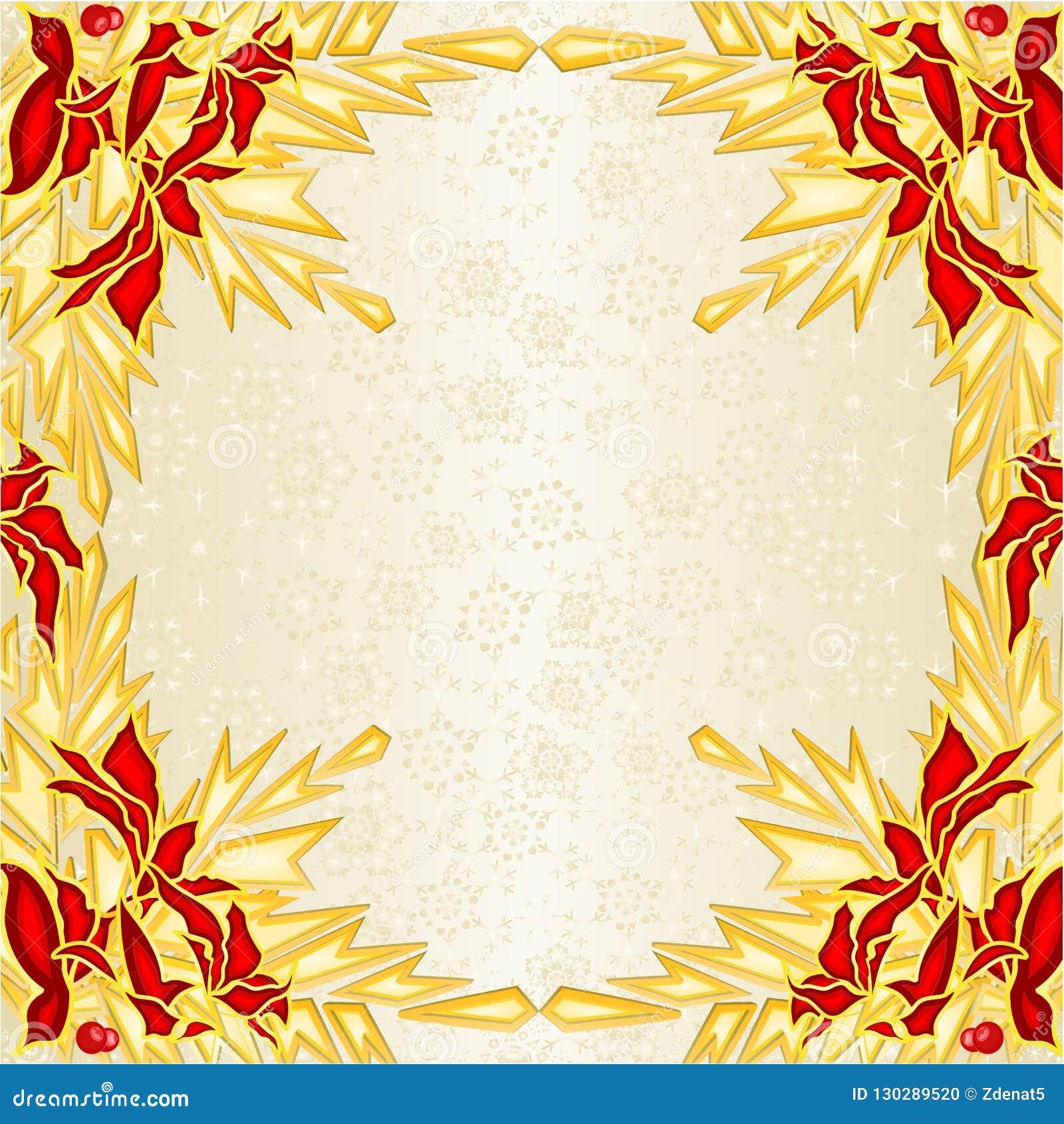 Baumast-Kiefernkegel und goldene Schneeflockenweinlese VE der roten und goldenen Poinsettias der Weihnachts- und des neuen Jahres