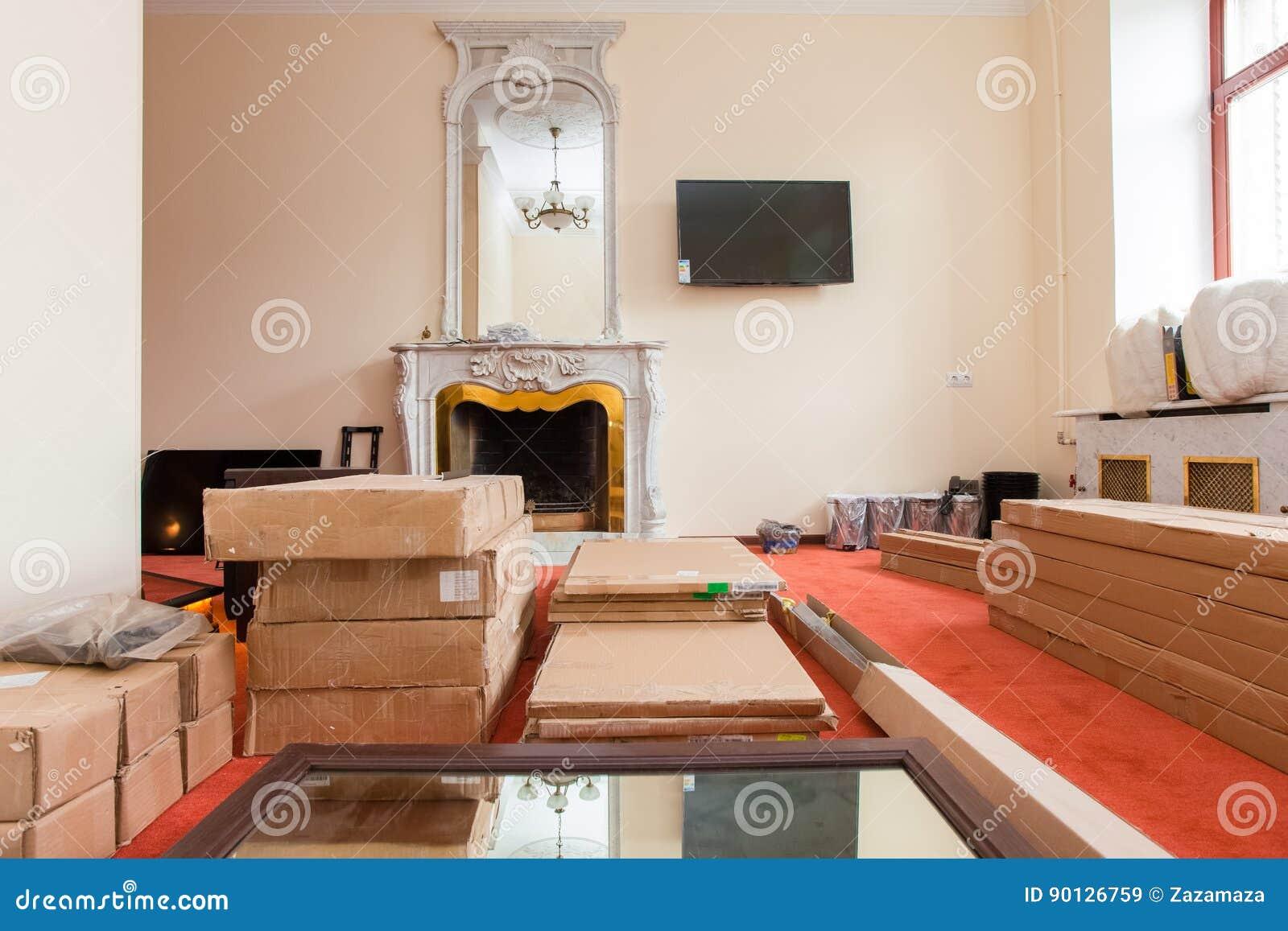 Fußboden Für Wohnung ~ Baumaterialien möbel fernsehen und telefon sind auf dem boden in