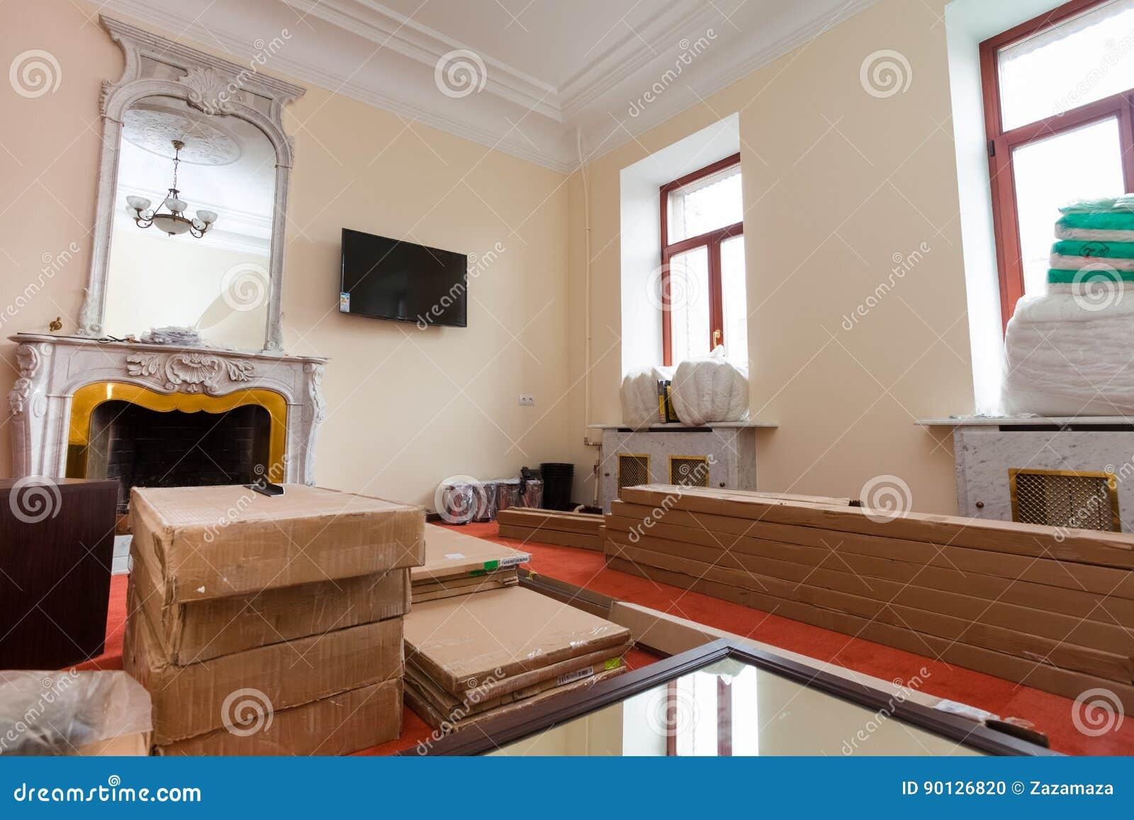 Baumaterialien Mobel Fernsehen Und Telefon Sind Auf Dem Boden In