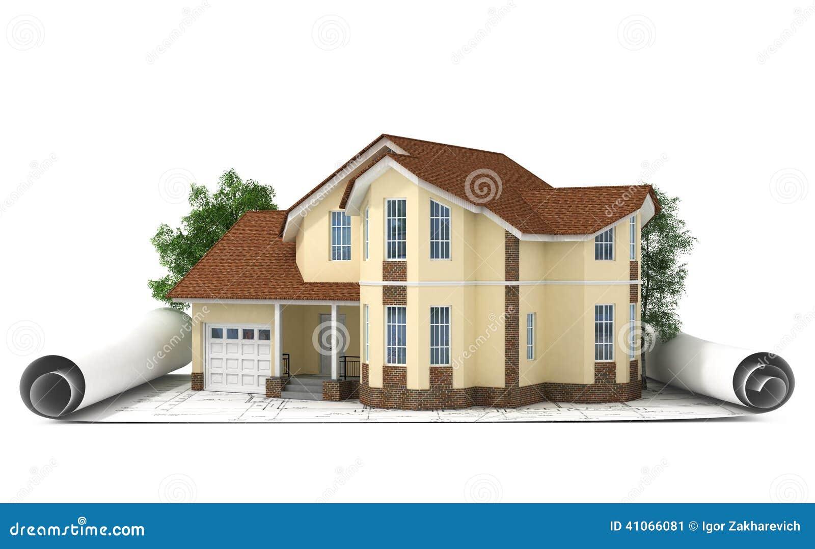 Bauplan mit haus und holz 3d stock abbildung bild 41066081 for Bauplan haus