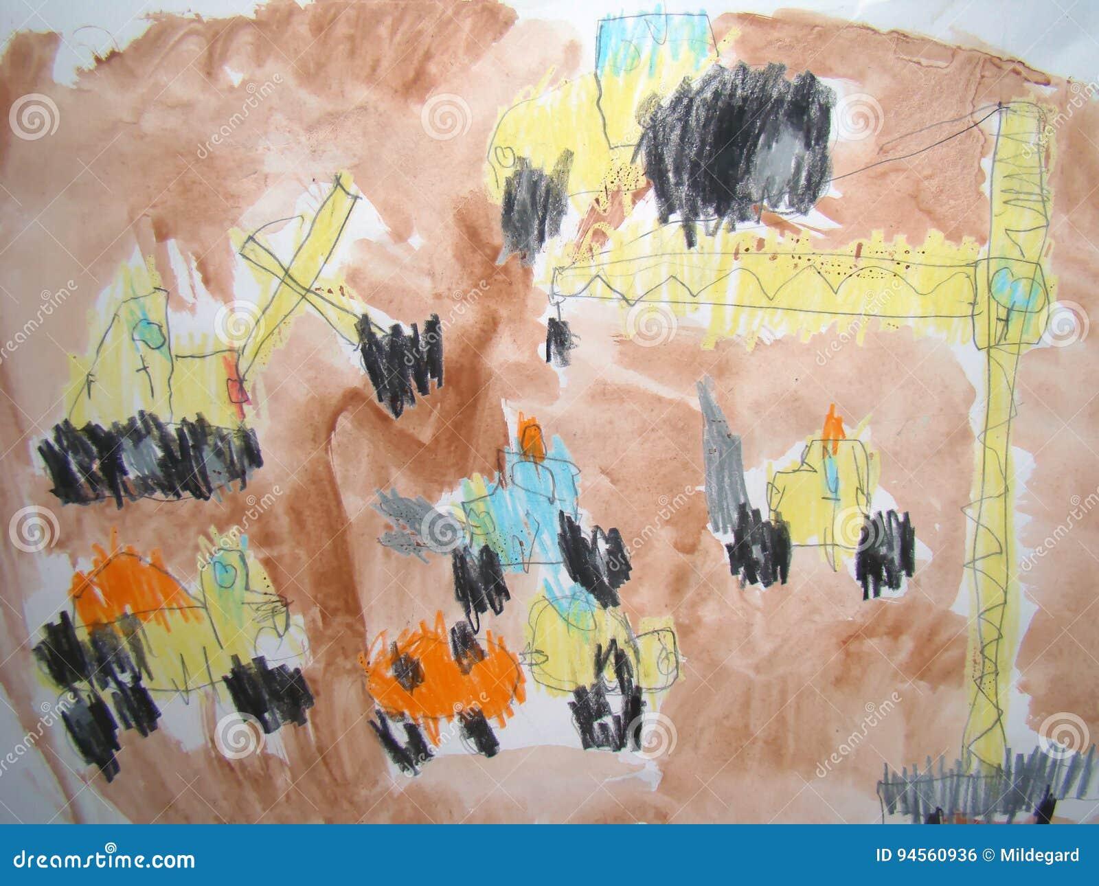 Baustelle Gezeichnet Vom Kind Stock Abbildung Illustration Von