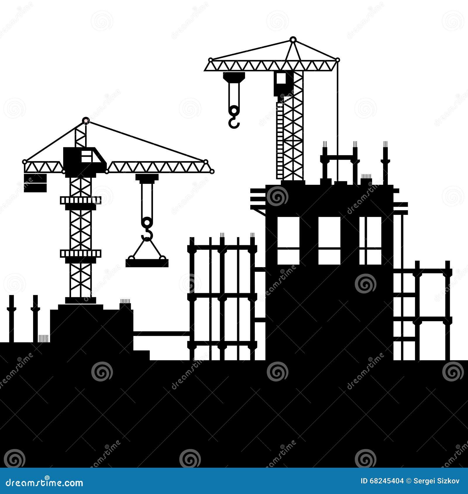 Baustelle Mit Turmkranen Vektor Vektor Abbildung - Bild: 68245404