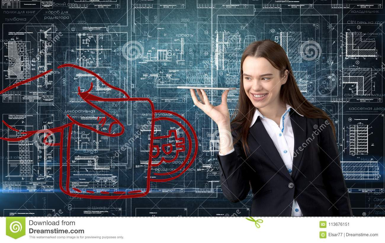 Bauty business woman standing in suit with Bitcoin Logo to illustrate the use of bitcoin for trading or money transfer.