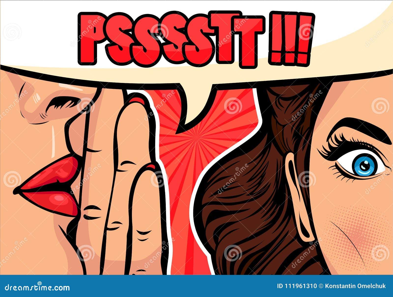 Bavardage ou secret de chuchotement de femme à son ami Dirigez l illustration dans style comique d art de bruit le rétro