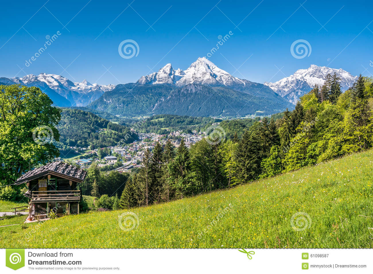 Vacation Cottage Plans Bavarian Alps With Beautiful Flowers And Watzmann In
