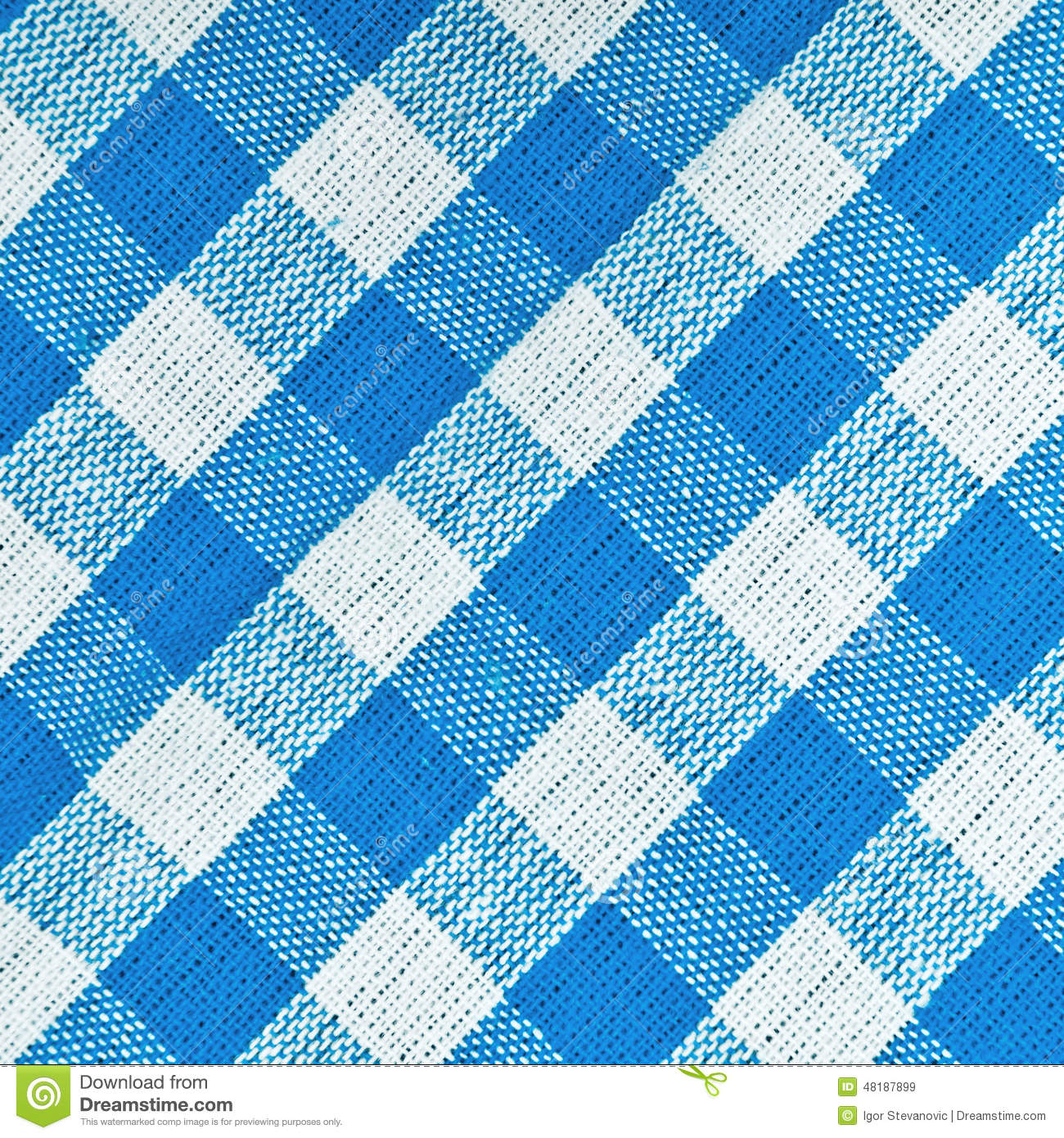 Bavarian Blue Checkered Tablecloth Stock Photo Image