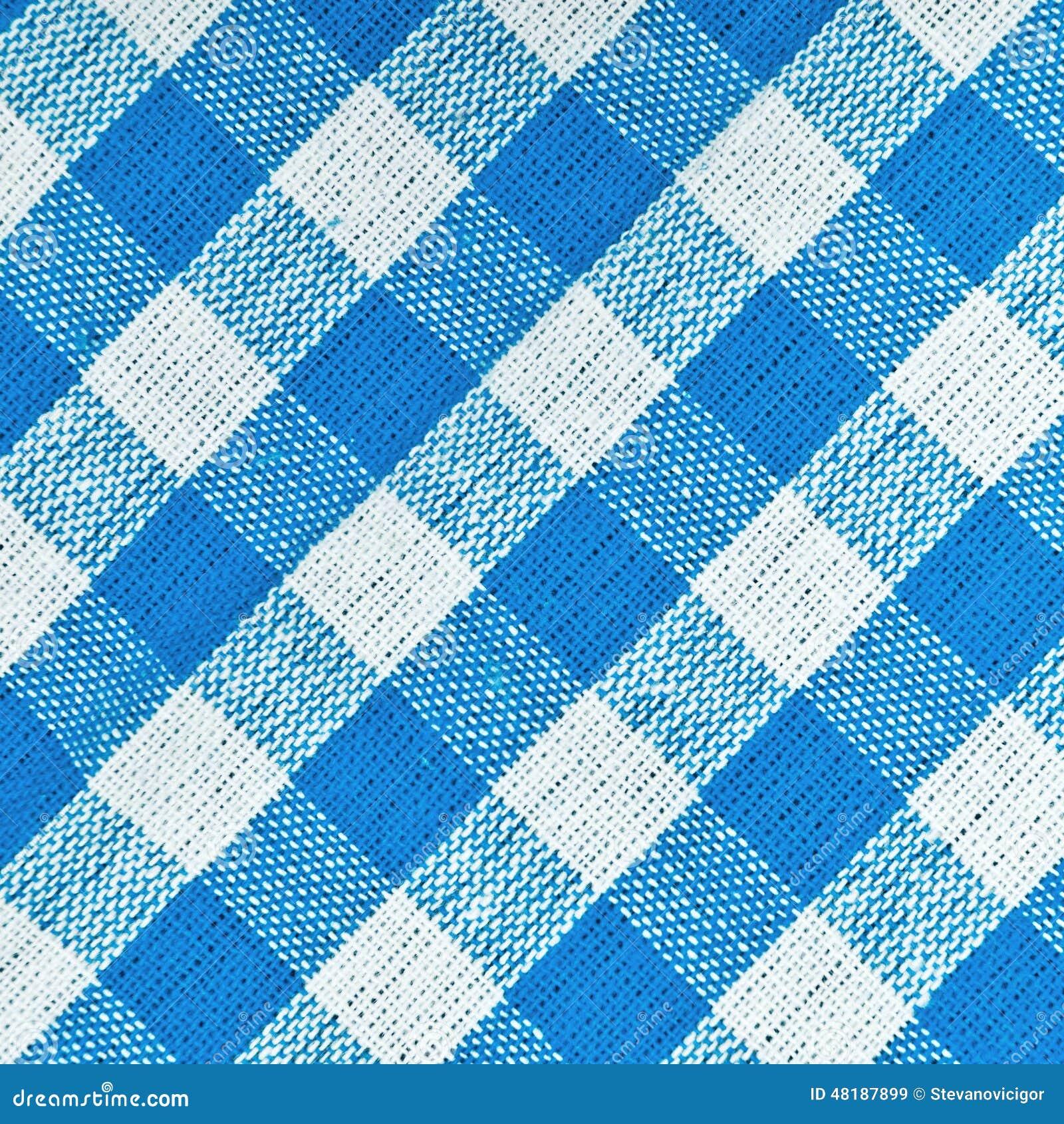 Bavarian Blue Checkered Tablecloth Stock Photo Image
