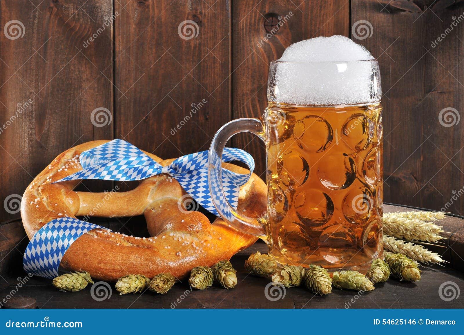 Bavarian Oktoberfest soft pretzel with beer