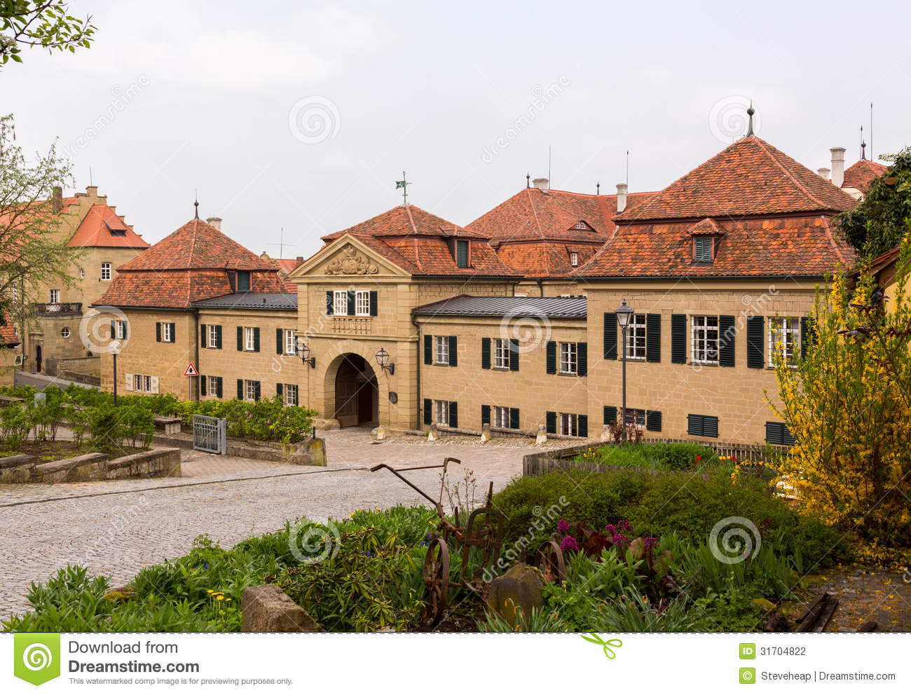 Bavarian village town of castell in bavaria germany stock for Village town