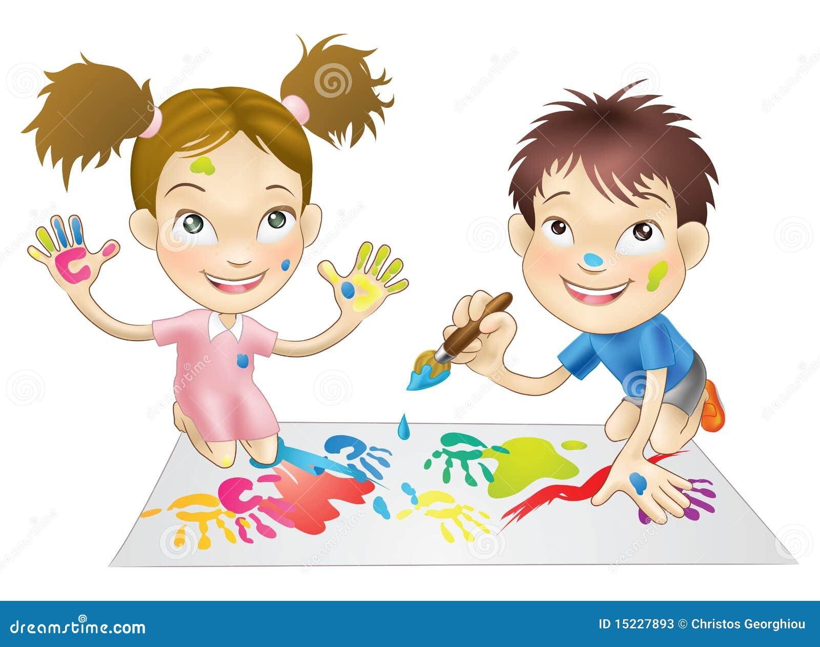 Bawić się dwa potomstwa dziecko farby