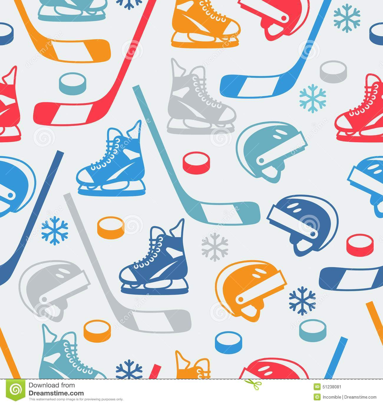 Bawi się bezszwowego wzór z hokejowym wyposażenia mieszkaniem