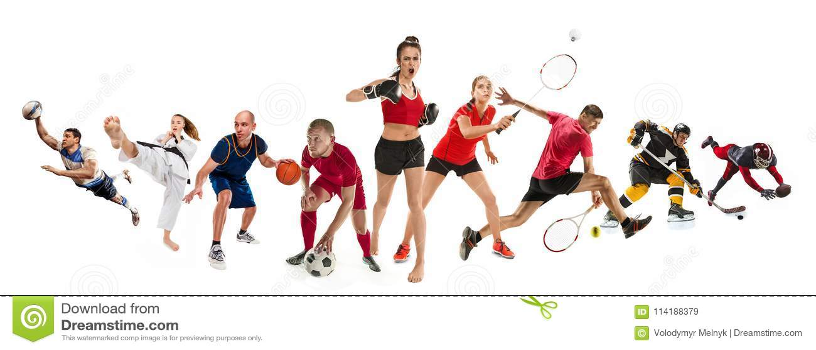Bawi się kolaż o kickboxing, piłka nożna, futbol amerykański, koszykówka, lodowy hokej, badminton, Taekwondo, tenis, rugby