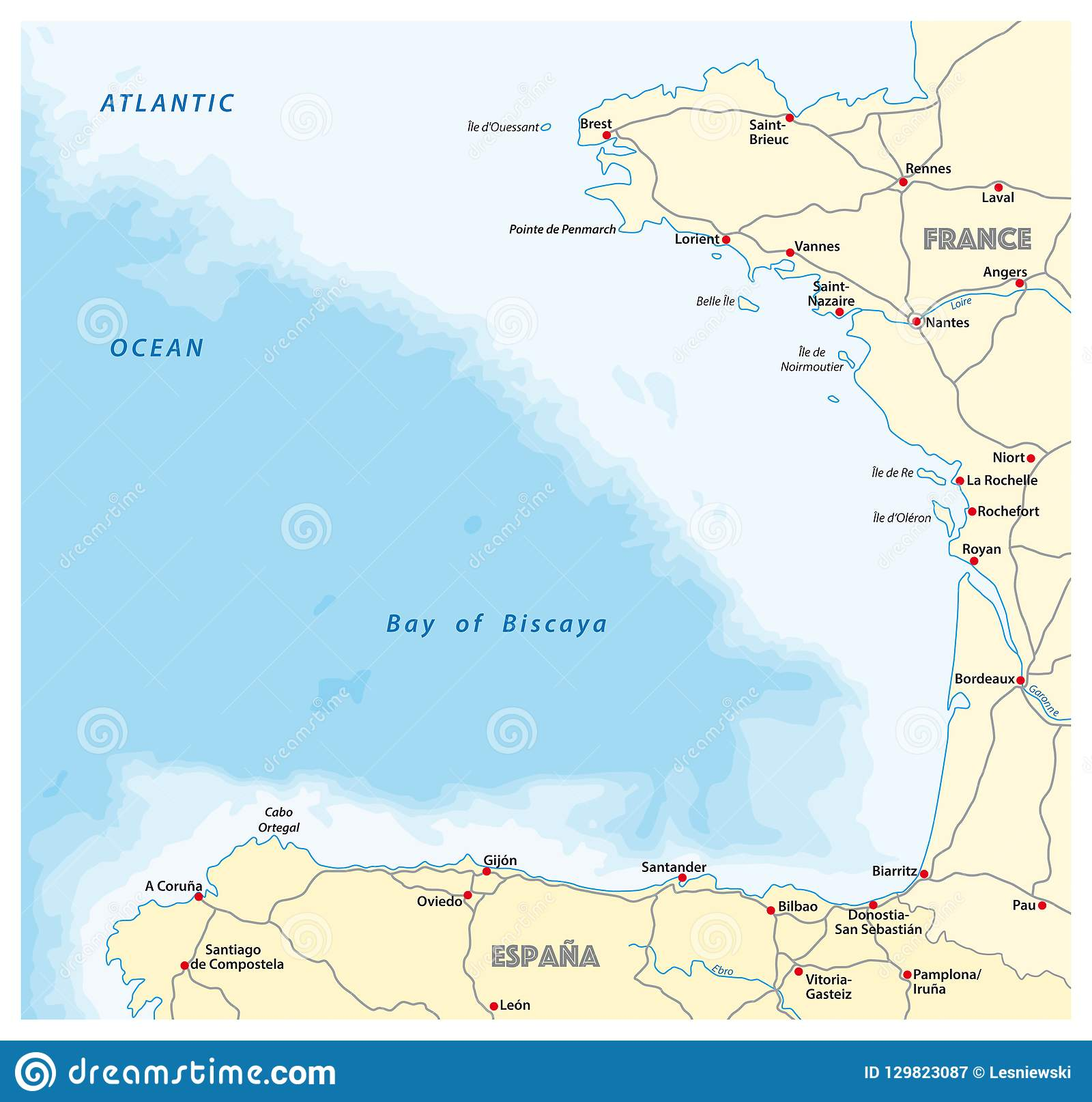 Bay Of Biscaya Vector Road Map Spain France Stock Vector