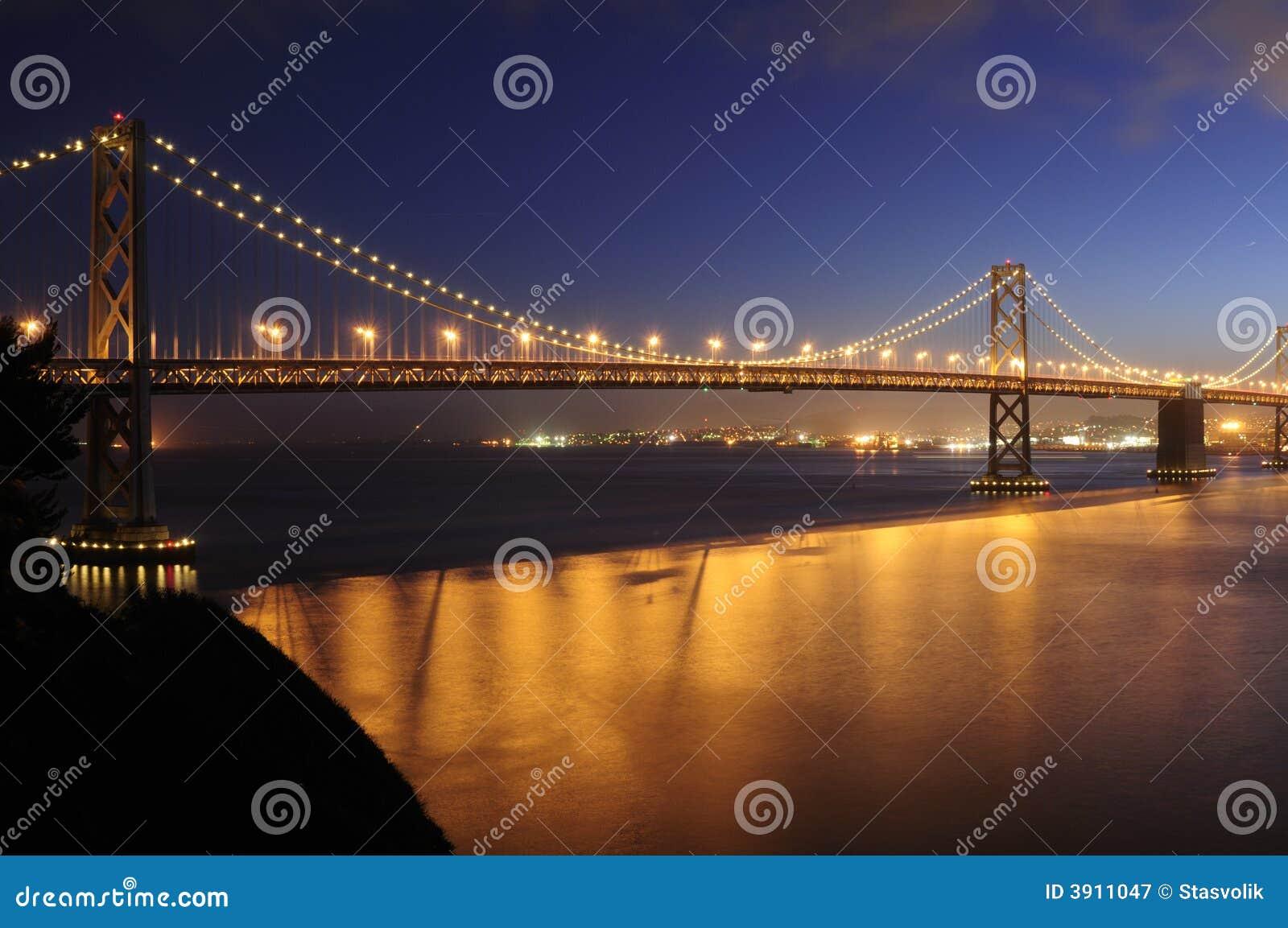 Bay Bridge, San Francisco glows in the dusk
