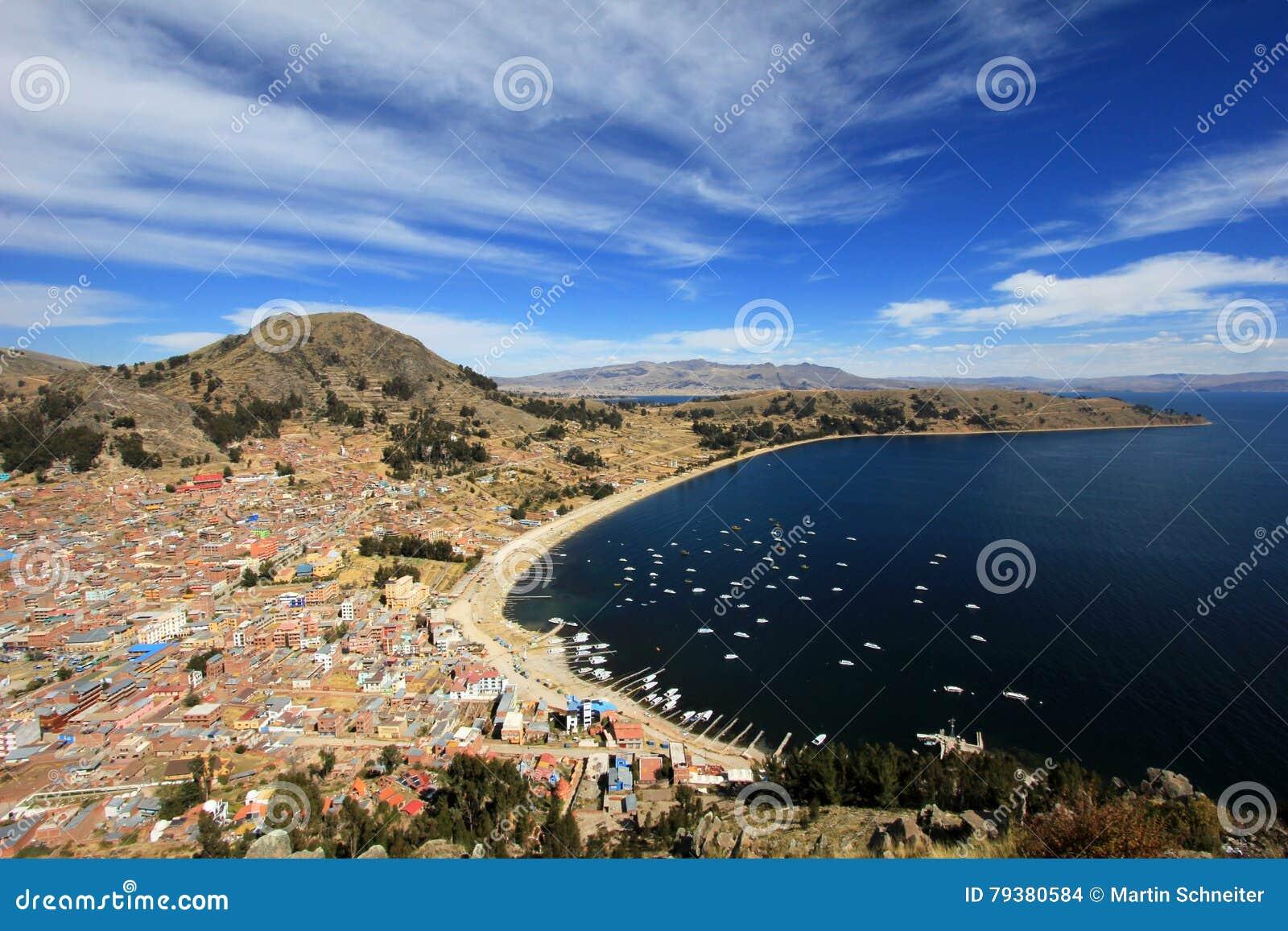 Bay in Copacabana Bolivia, lake Titicaca