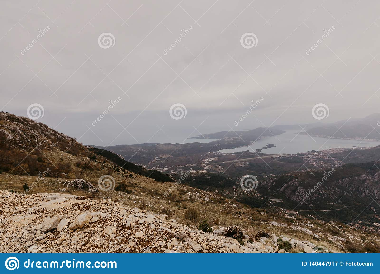 Bay of Kotor from the heights. View from Mount Lovcen to the bay. View down from the observation platform on the mountain Lovcen