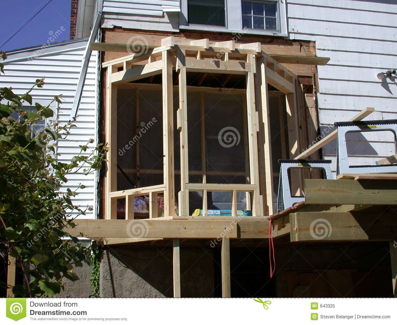 Bay window construction stock image image of residential for Bay window construction details