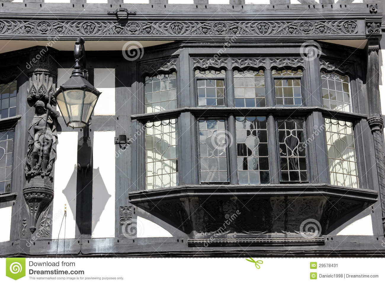 Bay Window In Tudor Building Chester England Stock Image